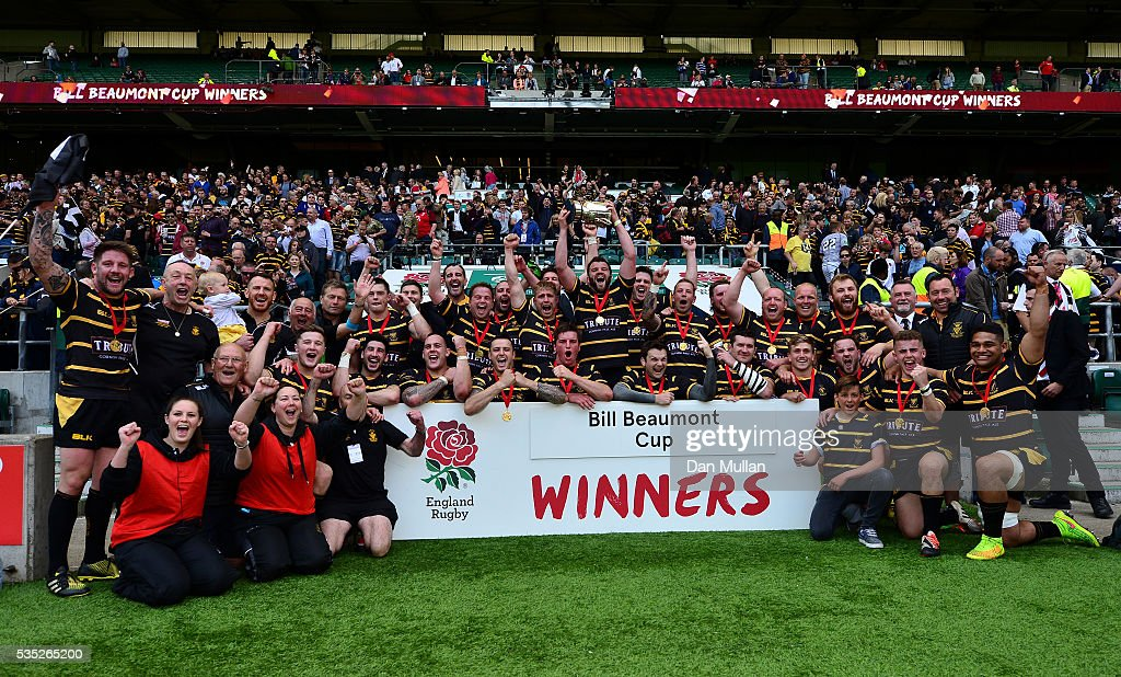 The Cornwall team celebrate with the trophy following victory during the 2016 Bill Beaumont Cup Final between Cornwall and Cheshire at Twickenham Stadium on May 29, 2016 in London, England.