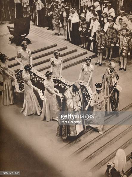 The Queen's Procession' 1937 Crowned and Bearing the Emblems of Her Dignity The Queen processing to the west door of the Abbey for the return to...