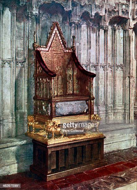 The Coronation Chair with the Stone of Scone Westminster Abbey London 1937 The seat in which all sovereigns of England have been crowned since Edward...