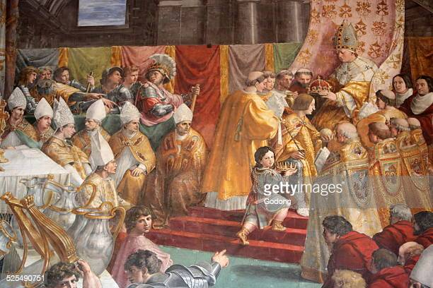The Coronation of Charlemagne 15161517 Fresco Italian painter Raphael Room of the Fire in the Borgo Vatican Museum