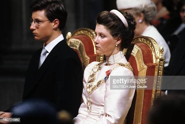 The Coronation Of King Harald V And Queen Sonja Of Norway Norvège Cathédrale de Nidaros à Trodheim Juin 1991 Lors du sacre du Roi HARALD V et de la...