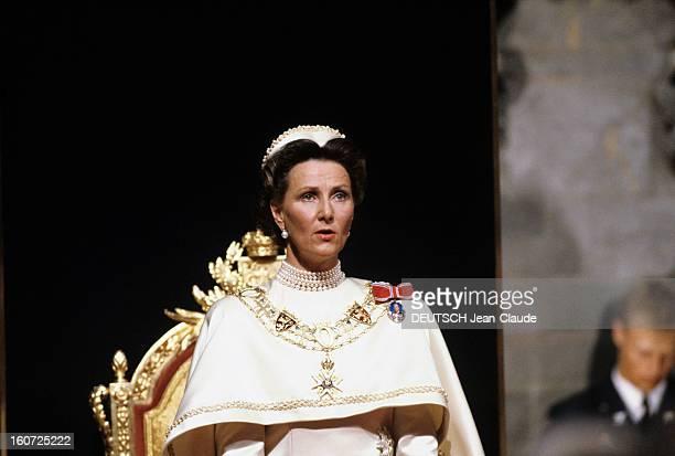 The Coronation Of King Harald V And Queen Sonja Of Norway Norvège Cathédrale de Nidaros à Trodheim Juin 1991Lors du sacre du Roi HARALD V et de la...