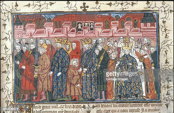 The coronation of Philippe II Auguste in the presence of Henry II of England after 1380 From a private collection