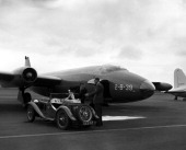 NBC NEWS 'The Coronation of Queen Elizabeth II' Pictured Jet bomber arrives to pick up newsreels of the coronation of Queen Elizabeth II on June 2...