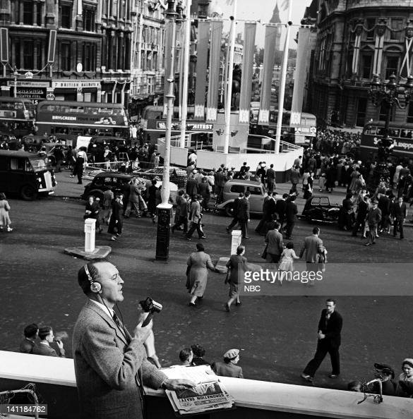 NBC NEWS 'The Coronation of Queen Elizabeth II' Pictured NBC News' George Hicks reporting from Trafalgar Square while covering the coronation of...