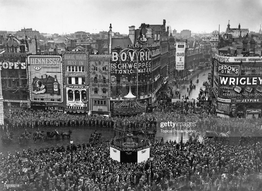 The Coronation procession passes through Piccadilly Circus London 2nd June 1953