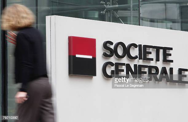 The corporate logo of the Societe Generale bank is pictured on January 24 2008 in Paris France