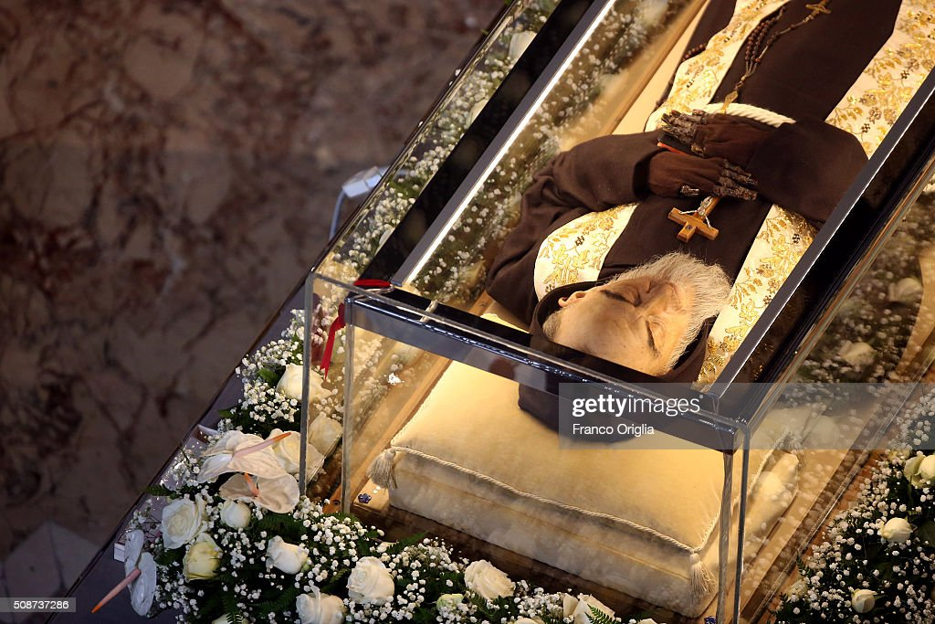 The corpse and relics of Padre Pio are displayed in St. Peter's Basilica for veneration by the faithful in connection with the ongoing Extraordinary Jubilee Year of Mercy on February 6, 2016 in Vatican City, Vatican. St. Pius of Pietralcina or San Padre Pio, as he is popularly known around the world was a Capuchin friar with a worldwide reputation during his earthly life as a mystic and miracle-worker, who was also a tireless confessor and laborer in favor of the poor, the sick, and the downtrodden.