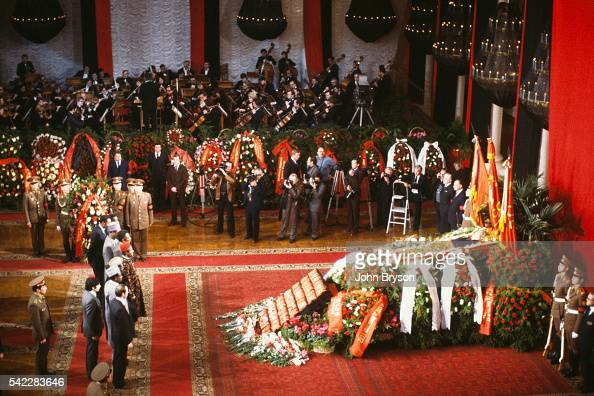 The corpse of Leonid Brezhnev former leader of the Communist Party lies in state in the Hall of Columns of the House of the Unions in Moscow