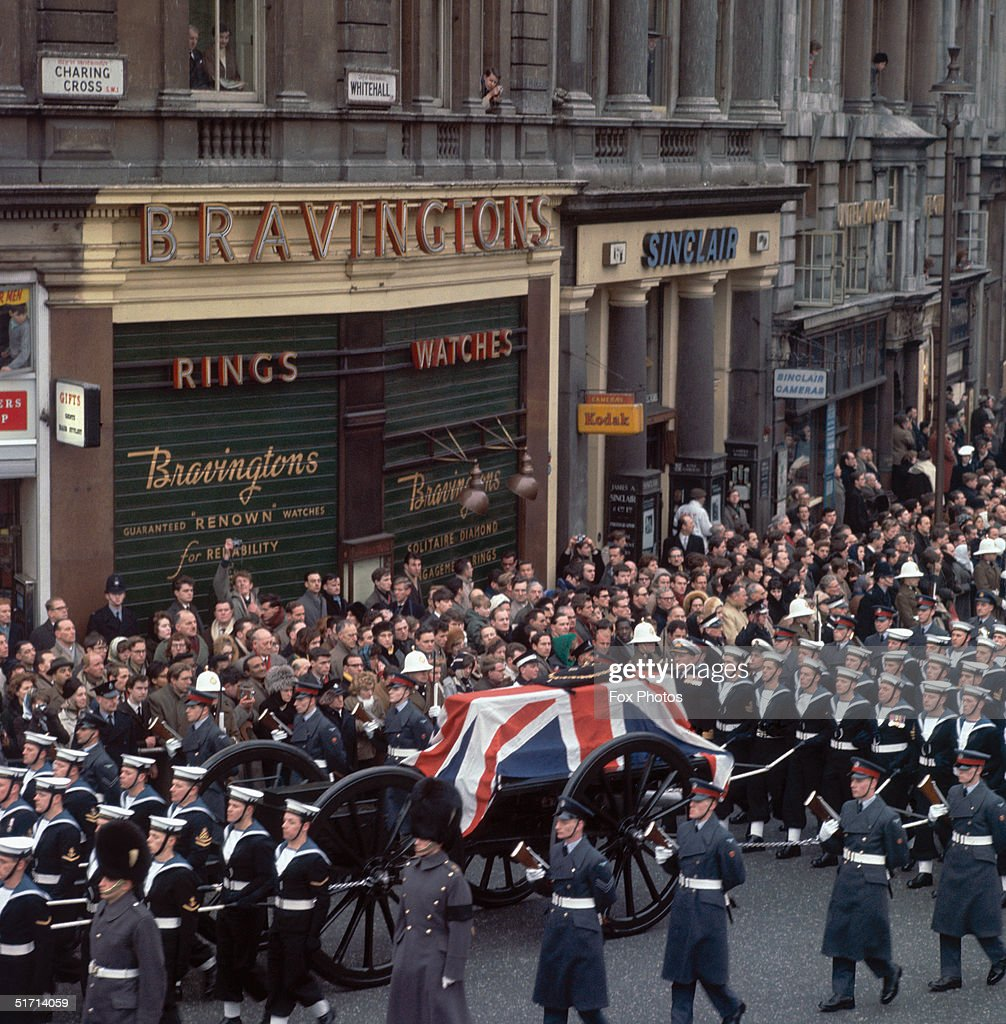 The cortege at the state of Winston Churchill makes its way down Whitehall London 30th January 1965