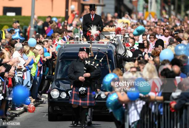 The cortege for the funeral of six year old Sunderland FC fan Bradley Lowery makes it's way to St Joseph's Church on July 14 2017 in Hartlepool...