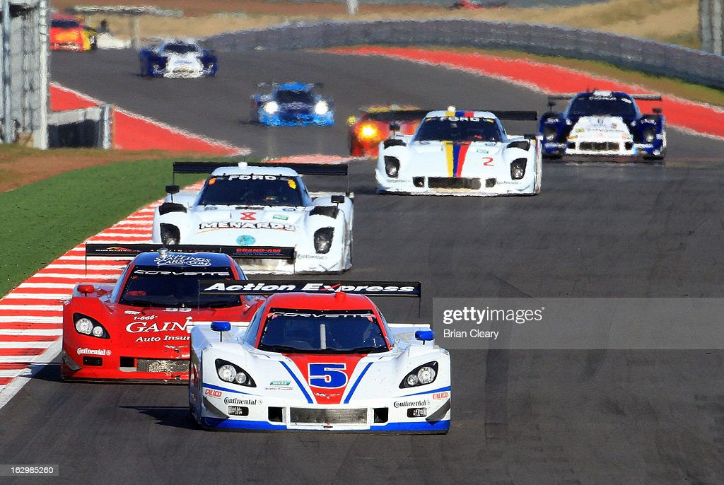 The #5 Corvette DP of Christain Fittipaldi and Brian Frisselle leads a line of cars during the Grand-Am of the Americas at Circuit of The Americas on March 2, 2013 in Austin, Texas.