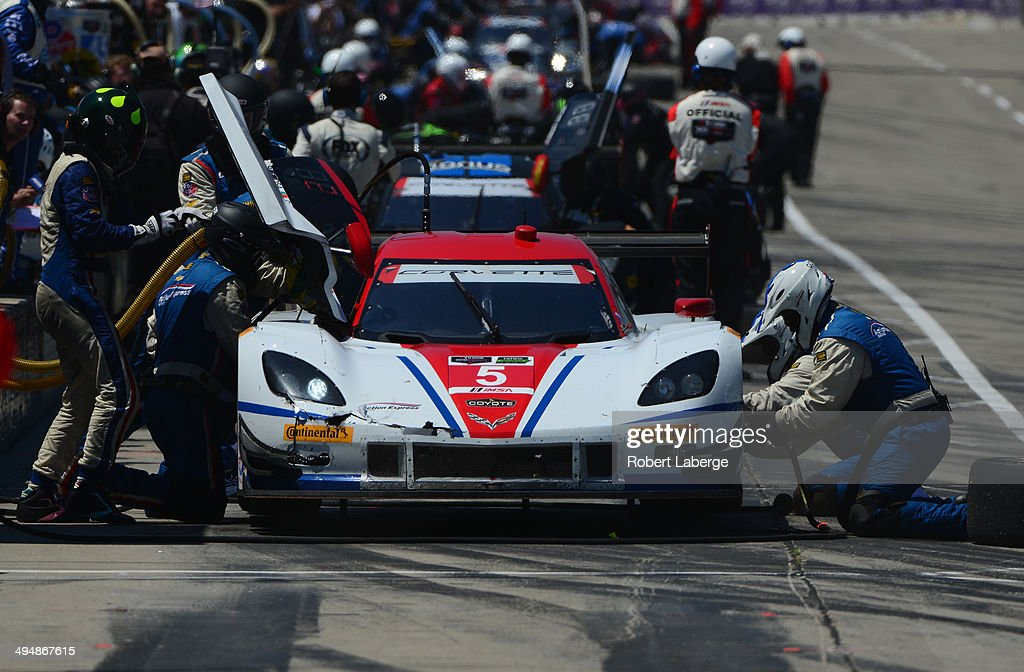 The Corvette DP of Christian Fittipaldi and Joao Barbosa in the pits during the Tudor United Sports Car Championship Series Chevrolet Sports Car...