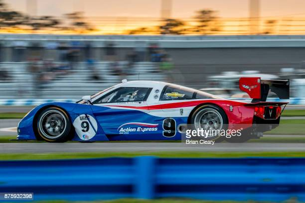 The Corvette DP of JC France races on the track during the Classic 24 at Daytona Historic Sportscar Race at Daytona International Speedway on...