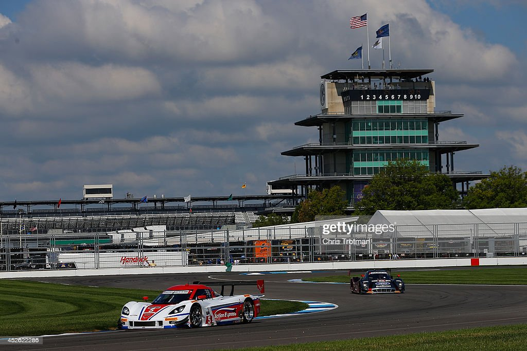The #5 Corvette DP of Joao Barbosa and Christian Fittipladi drive during practice for the TUDOR United SportsCar Championship Brickyard Grand Prix at Indianapolis Motor Speedway on July 24, 2014 in Indianapolis, Indiana.