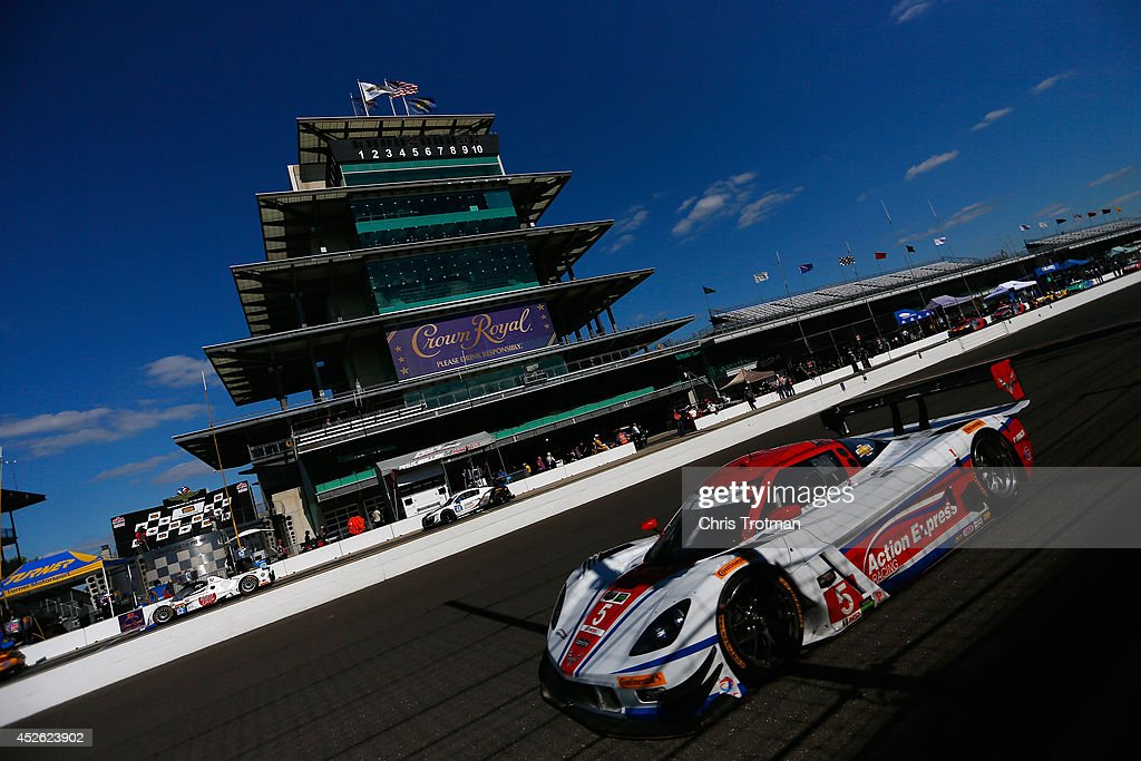 The #5 Corvette DP of Joao Barbosa and Christian Fittipladi drives during practice for the TUDOR United SportsCar Championship Brickyard Grand Prix at Indianapolis Motor Speedway on July 24, 2014 in Indianapolis, Indiana.