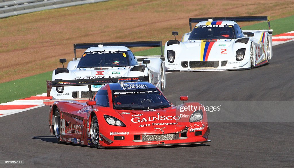 The #99 Corvette DP of Jon Fogarty and Alex Gurney races to victory in the Grand-Am of the Americas at Circuit of The Americas on March 2, 2013 in Austin, Texas.
