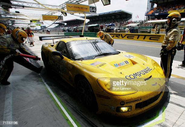 The Corvette of Oliver Gavin Olivier Beretta and Jan Magnussen makes a pit stop during the Le Mans 24h race on June 18 2006 at the Circuit des '24...