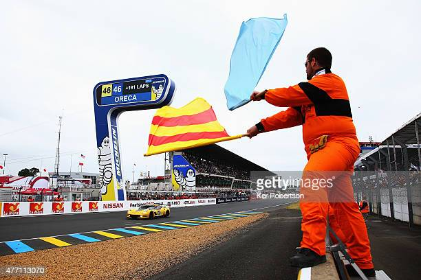 The Corvette Racing C7R of Oliver Gavin Tommy Milner and Jordan Taylor wins the LM GTE Pro class during the Le Mans 24 Hour race at the Circuit de la...
