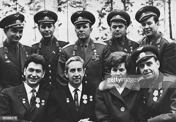 The cosmonauts of the Russian spacecraft Voskhod 1 are given a welcome reception by their fellow space pioneers at Zvyozdny 30th October 1964 From...