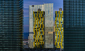 The Cosmopolitan of Las Vegas frames Veer Towers at CityCenter shown in front of Mandarin Oriental Las Vegas at CityCenter on May 19 2015 in Las...