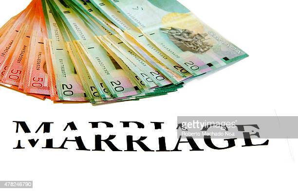 The cost of divorce bunch of Canadian bills or money with a broken word Marriage over white background