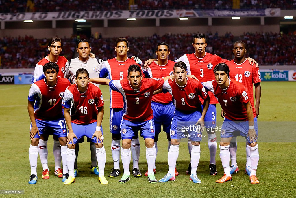 The Costa Rica national team starters pose prior to facing the United States national team during the FIFA 2014 World Cup Qualifier at Estadio Nacional on September 6, 2013 in San Jose, Costa Rica.