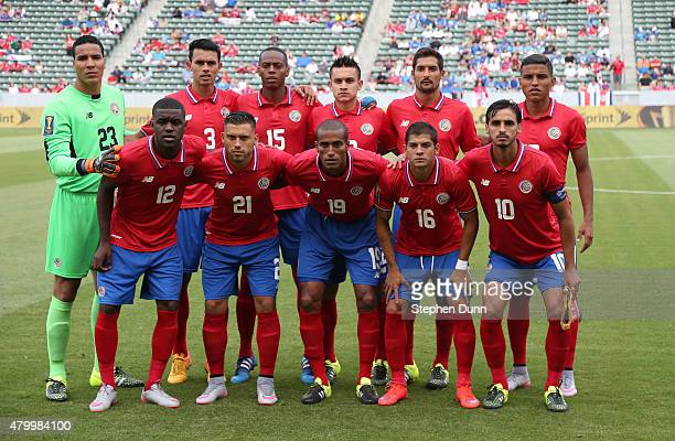 The Costa Rica starting 11 pose for a team shot before playing Jamaica in their CONCACAF Gold Cup Group B match at StubHub Center on July 8 2015 in...