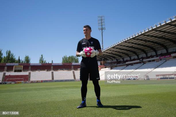 The Costa Rican Goalkeeper Danny Carvajal is presented with the Albacete Balompie in the Carlos Belmonte Stadium in Albacete Spain on June 30 2017