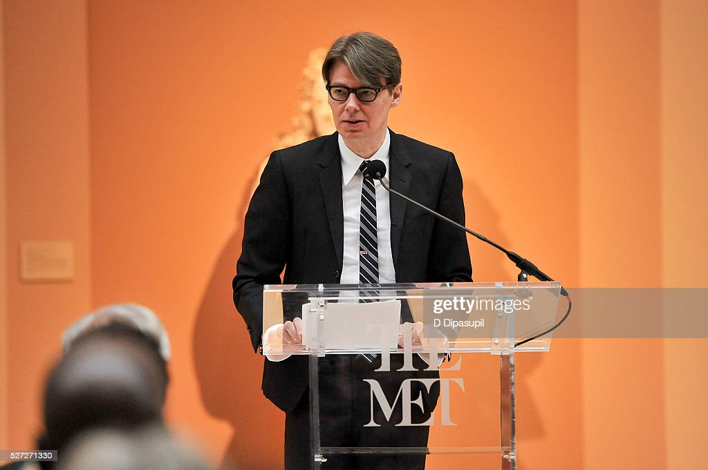 The Costume Institute at the Metropolitan Museum of Art curator Andrew Bolton speaks during the 'Manus x Machina: Fashion in an Age of Technology' press preview at the Metropolitan Museum of Art on May 2, 2016 in New York City.