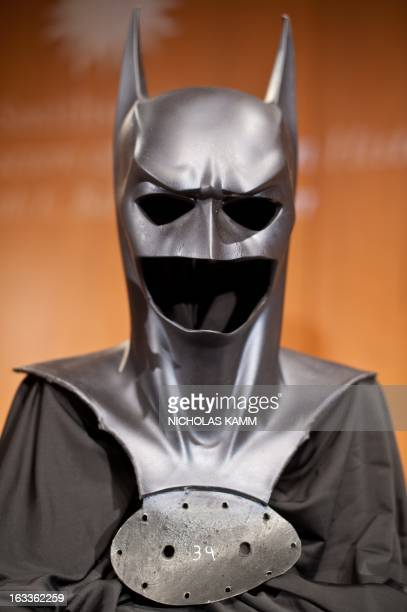 The costume worn by George Clooney in the film Batman and Robin is seen during a ceremony at the National Museum of American History as Warner Bros...