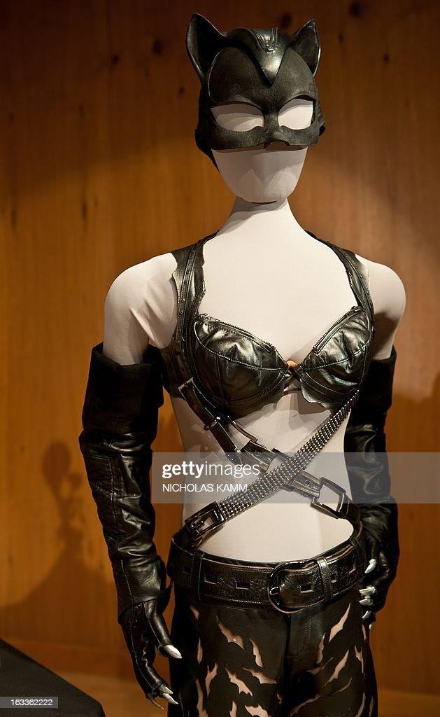 The costume worn by Halle Berry in the 2004 film Catwoman is seen during a ceremony at the National Museum of American History as Warner Bros. donates memorabilia to the museum on March 8, 2013. More than 30 objects from 13 Warner Bros. films spanning 1942 to 2005 will be added to the National Museum of American History's entertainment collections, including Halle Berry's costume from the 2004 film Catwoman, props from the 2005 film Charlie and the Chocolate Factory and a selection of stop-action puppets used by director Tim Burton for the 2005 film Corpse Bride. AFP PHOTO/Nicholas KAMM
