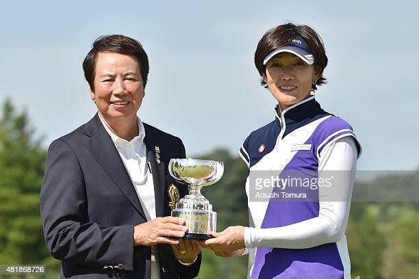 The counselor of LPGA Japan Hisako Higuchi and Yuka Shiroto of Japan pose for photographer during the award ceremony for the LPGA Legends...