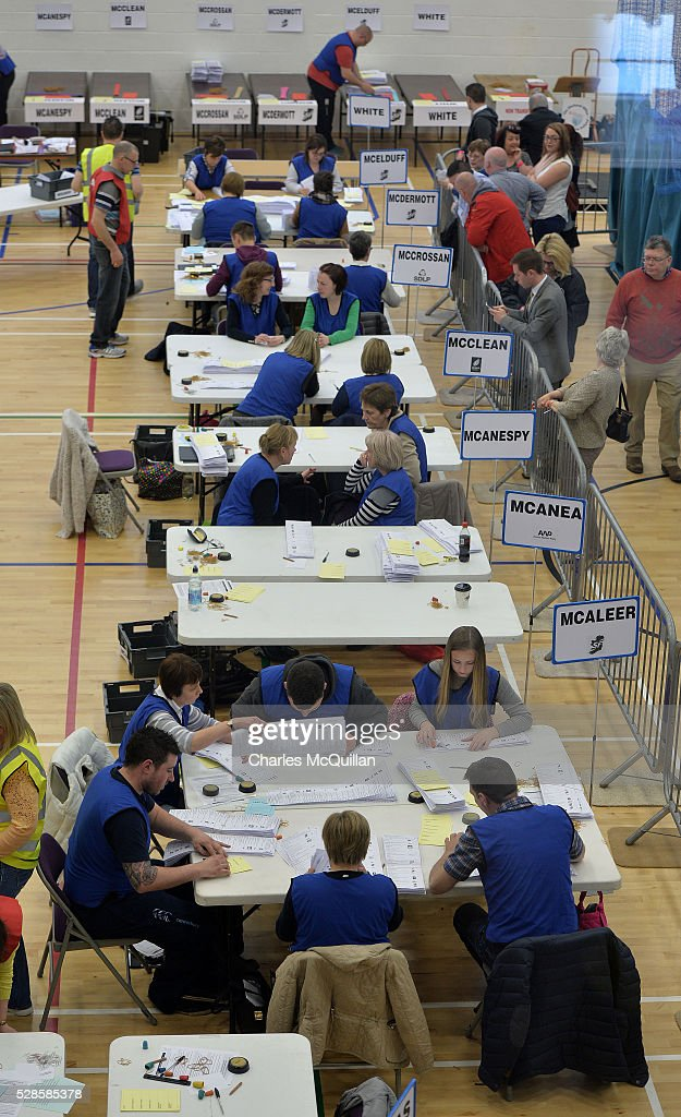 The count begins in the Northern Ireland Assembly elections at Omagh Leisure on May 6, 2016 in Omagh, Northern Ireland. Two hundred and seventy six candidates are contesting 108 seats across the province. The Democratic Unionist Party are predicted to return as the largest political party in the province with Arlene Foster also returned as First Minister of the power sharing government with Sinn Fein the second largest party.