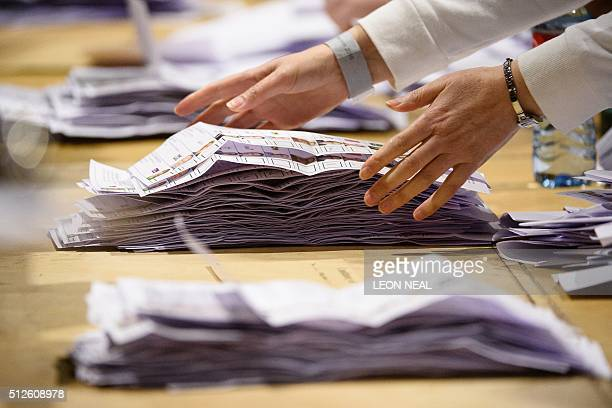 The count gets under way at the RDS centre in Dublin Ireland on February 27 2016 the day after the vote took place in the Irish General Election...