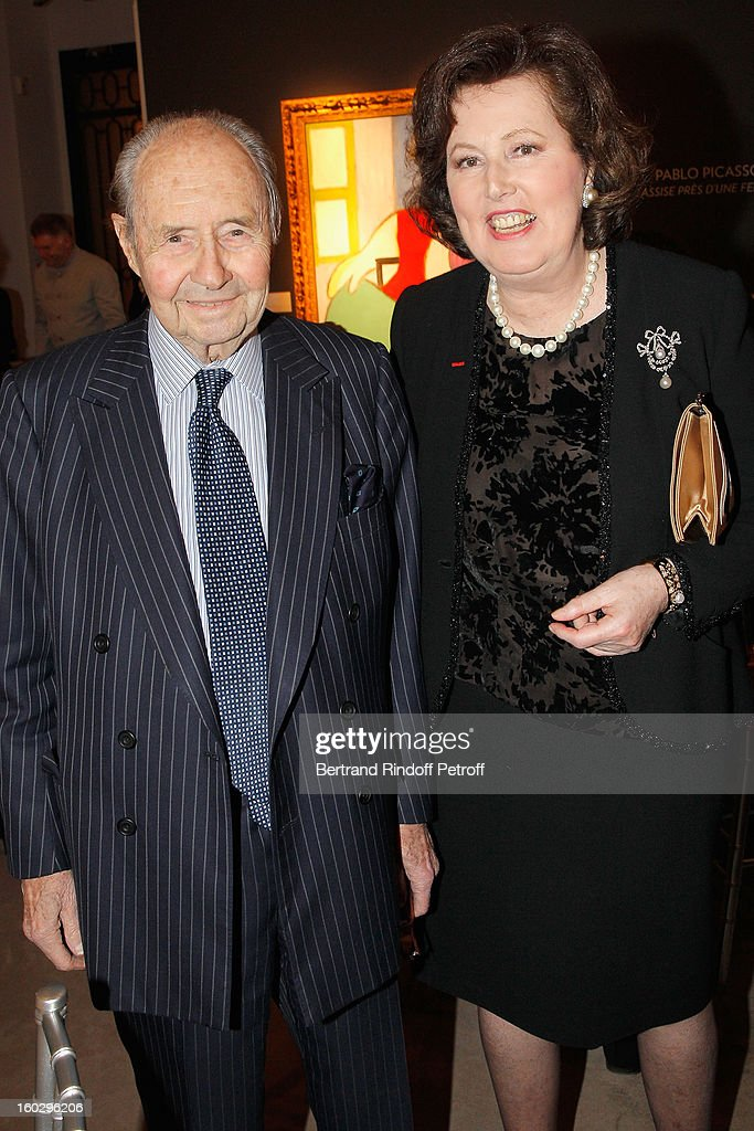 The Count of Ribes (L) and Princess Laure de Beauvau Craon attend a dinner in honor of Helene David-Weill, who presided through 1994 - 2012 Les Arts Decoratifs, one of the largest decorative arts museums in the world, at Sotheby's on January 28, 2013 in Paris, France.