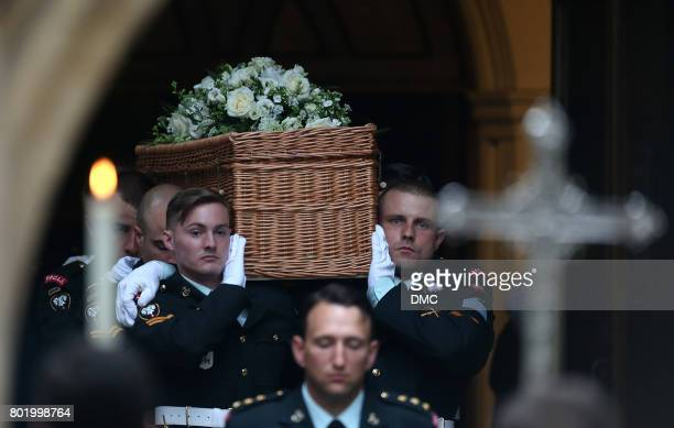 The Countess Mountbatten of Burma's casket is seen leaving St Paul's Church at the end of funeral of her funeral at St Paul's Church on June 27 2017...