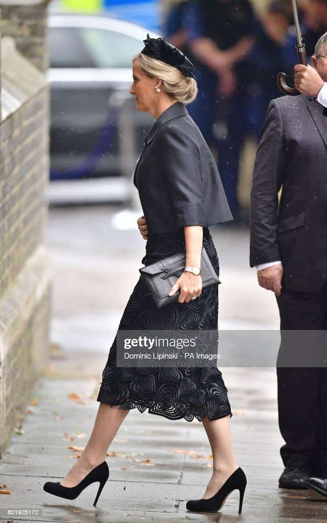 The Countess of Wessex arriving at the funeral of Countess Mountbatten of Burma's at St Paul's Church, Knightsbridge, London.