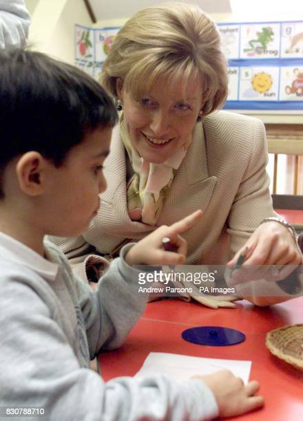 The Countess of Wessex helps Erol Ibarhaim four draw a picture during her visit to the Phoenix Montessori Nursery School and Day Nursery in...