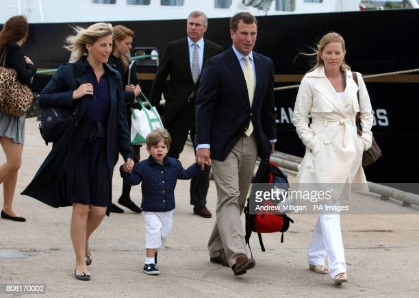The Countess of Wessex her son James Peter Phillips and Autumn Phillips followed by Princess Eugenie Princess Beatrice and their father the Duke of...