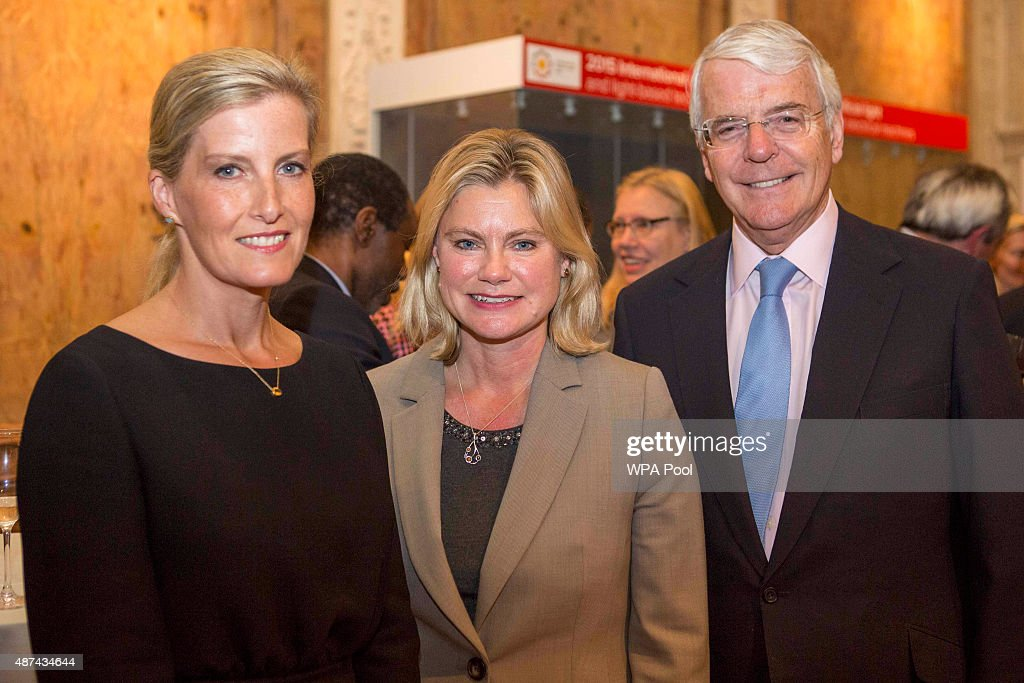 The Countess of Wessex , International Development Secretary Justine Greening and former British Prime Minister Sir John Major at The Royal Society in central London during an event hosted by The Queen Elizabeth Diamond Jubilee Trust to mark the day Queen Elizabeth II became the longest serving Monarch on September 9, 2015 in London, England.