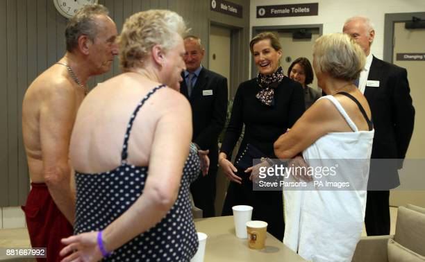 The Countess of Wessex meets visitors during a visit to Coral Reef Waterworld in Bracknell