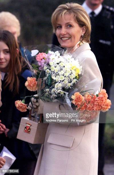 The Countess of Wessex receives flowers from the public as she leaves the Phoenix Montessori Nursery School and Day Nursery in Terrington St Clement...