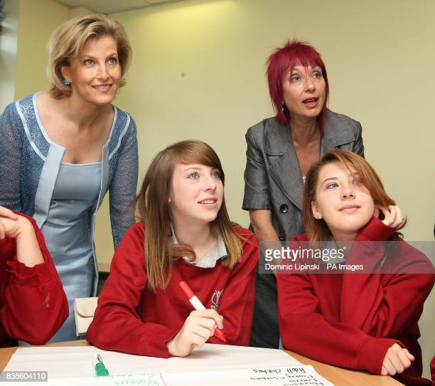 The Countess of Wessex speaks to pupils and Hilary Pannack Chief Executive of Straight Talking during a visit to Whitton School and Sports College in...