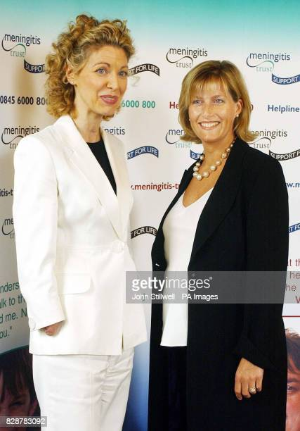 The Countess of Wessex stands alongside Olivia Giles at the launch of the Meningitis Trust's Support for Life Appeal held at the Institute of...