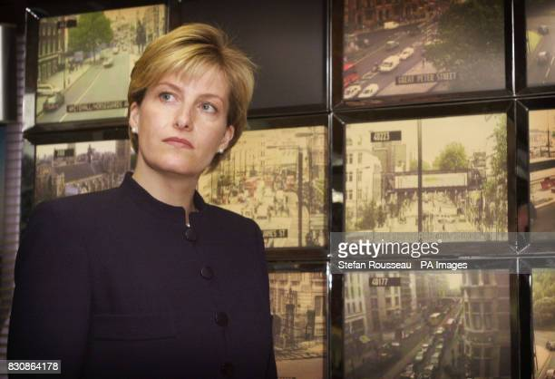 The Countess of Wessex stands in front of TV monitors as she tours the control room at Scotland Yard in central London where she and her husband the...