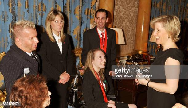 The Countess of Wessex talking to Lee Pearson the Equestrian triple Gold Medalist during a reception for the Beijing 2008 Great Britain Paralympic...