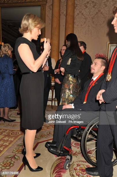 The Countess of Wessex talking to Matt Skelhon from Peterborough during a reception for the Beijing 2008 Great Britain Paralympic team at Buckingham...