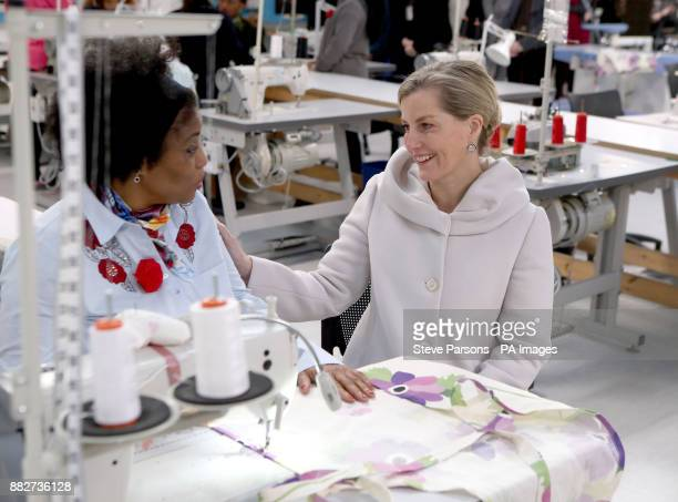 The Countess of Wessex talks to female offender Trudy during a visit to the HMP Downview Prison and Young Offenders Institution in Sutton