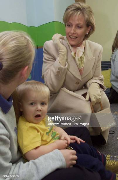 The Countess of Wessex talks with staff and children during her visit to the Phoenix Montessori Nursery School and Day Nursery in Terrington St...